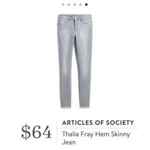 Articles of Society Thalia Gray Skinny Jeans 27
